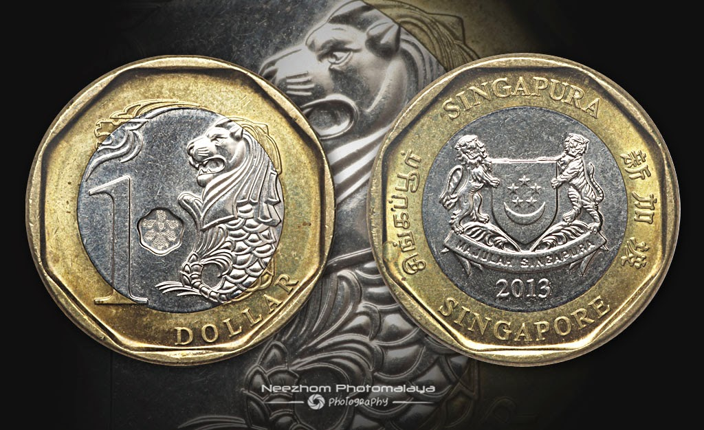 Singapore 1 Dollar 2013 bi metal coin