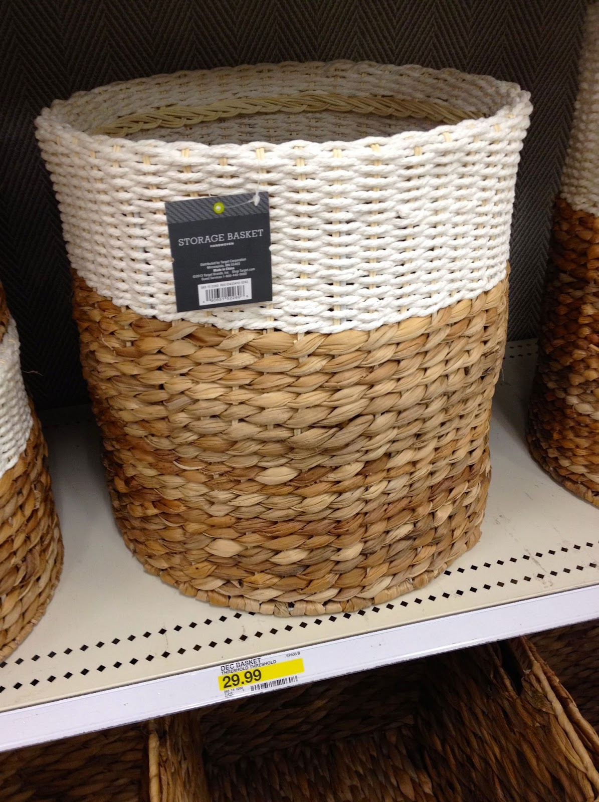 Color Block Round Woven Basket