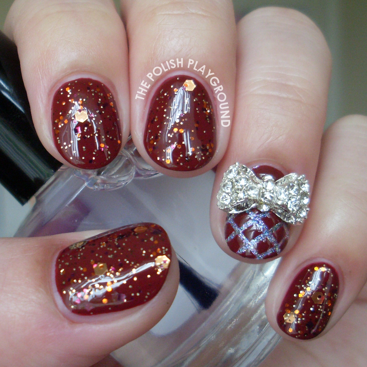 Glittery Fall Inspired Nails with Bow Stud Accent Nail Art