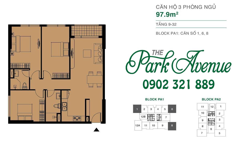 THE PARK AVENUE: Mặt bằng căn hộ 3 PN - 97.9m²