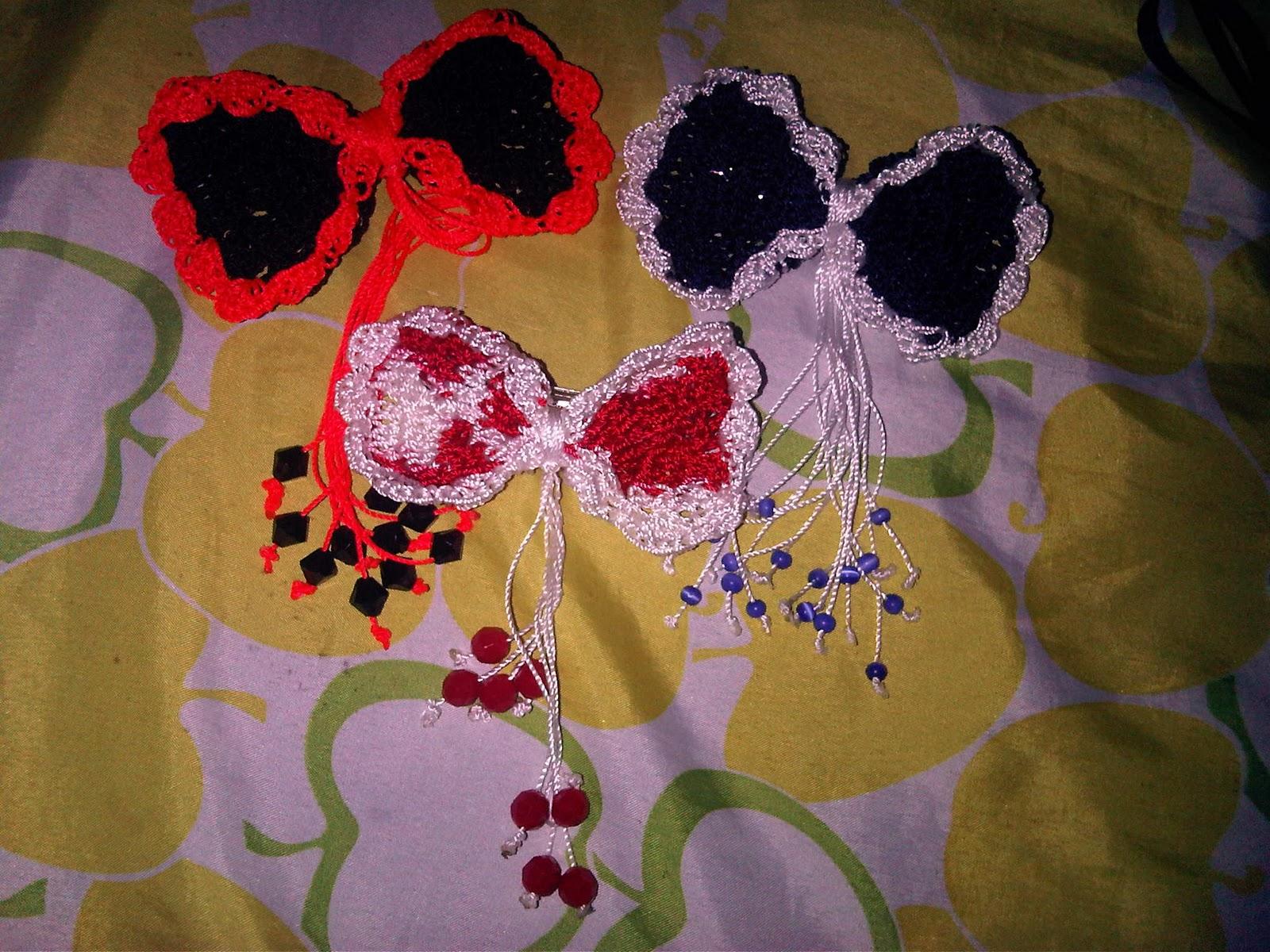 Accesorios para el cabello y aretes tejidos a crochet