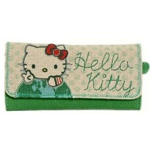 Hello Kitty canvas earth green purse wallet