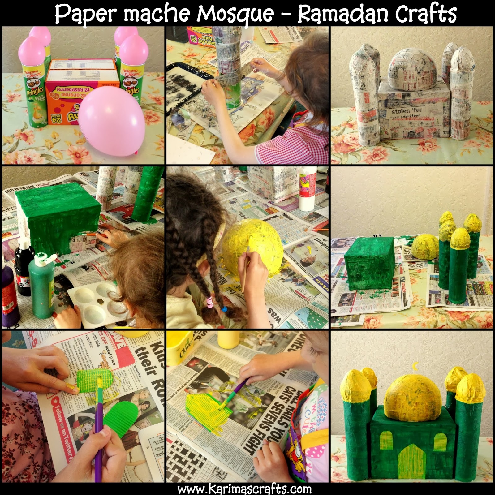 paper mache Mosque  30 days of Ramadan Crafts Tutorial