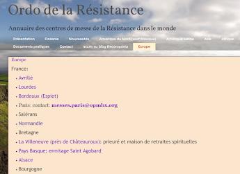 Horaires et Lieux des Messes de la résistance mise à jour mensuelle