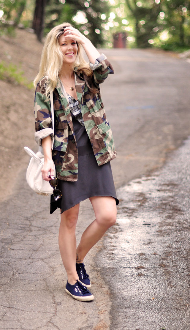 karen zambos dress with camo jacket