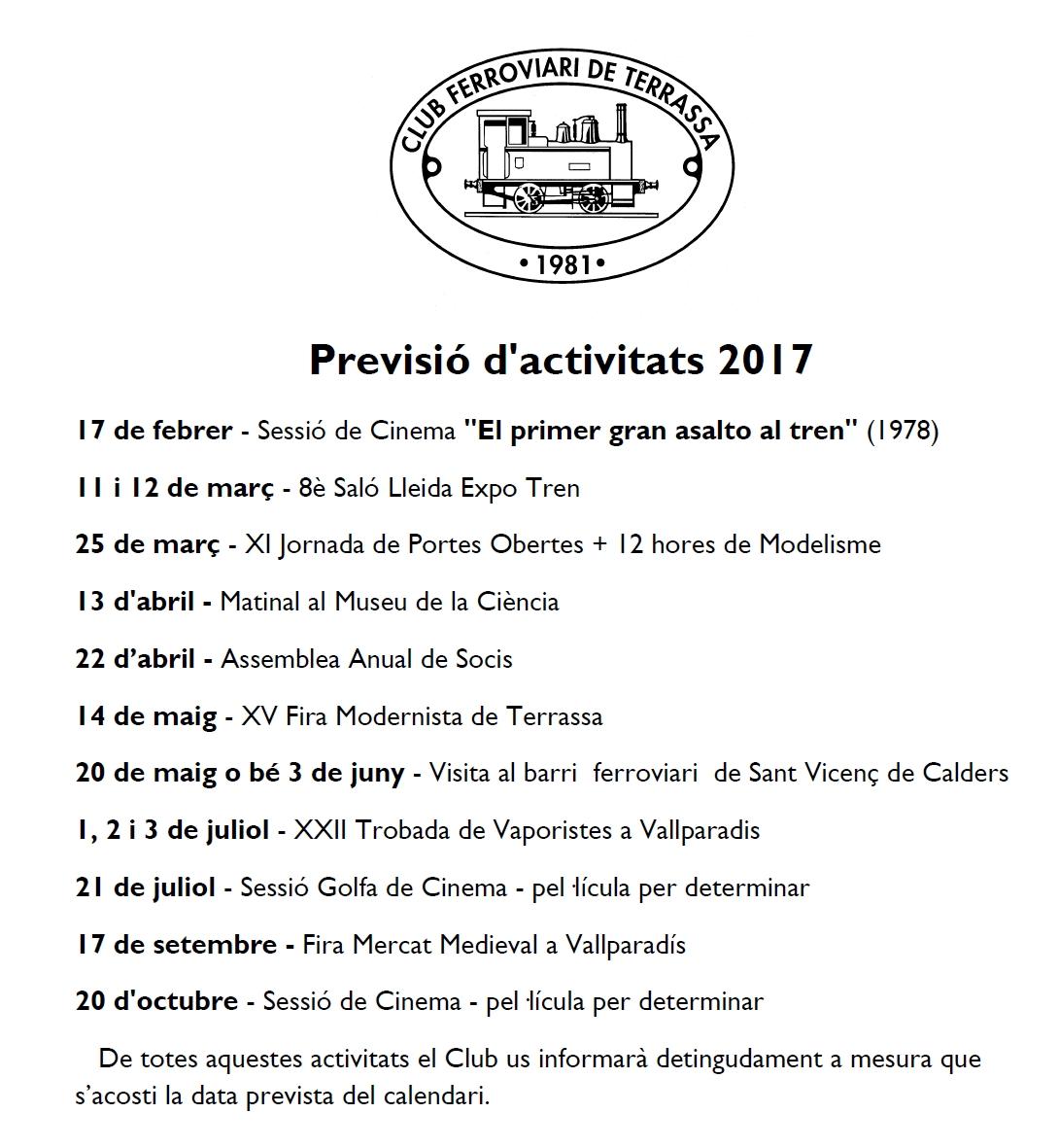 Actualització de la Previsió d'Activitats del Club Ferroviari de Terrassa. 3-ABRIL-2017