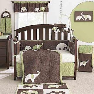 dormitorio bebé verde y chocolate