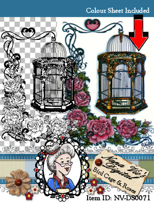 Bird cage with roses digital stamp