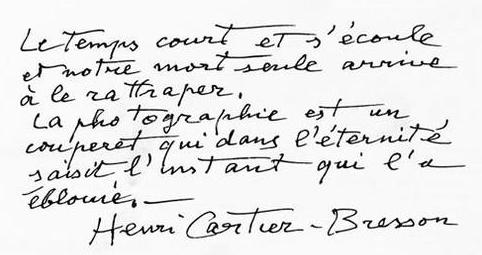 el blog de almu: Preciosa cita manuscrita de Henri Cartier-Bresson