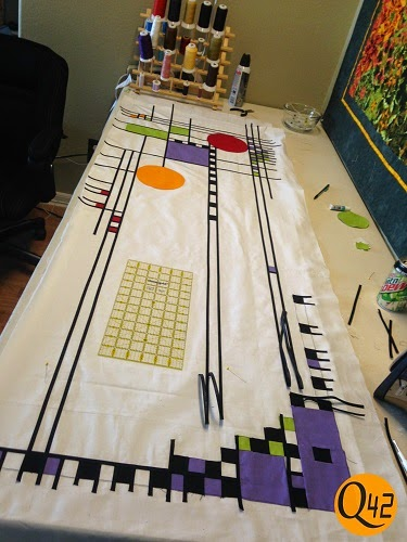 FLW quilt adding straight lines