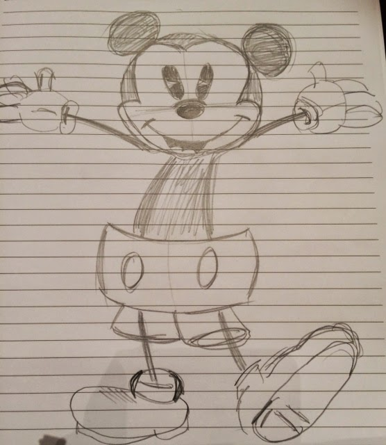 sketch of Disney's Mickey Mouse