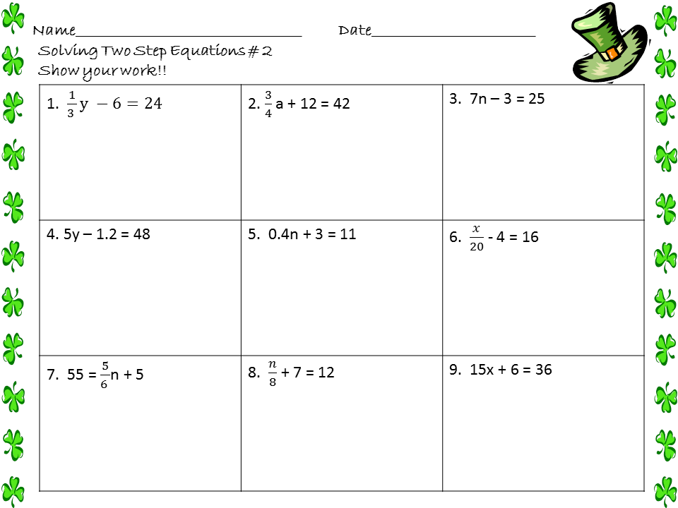 Printables Two Step Equations Worksheet Joomsimple Thousands of – One Step Equations Worksheets