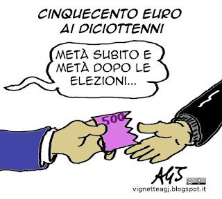 500 euro, 18 anni, renzi, elezioni, vignetta satira