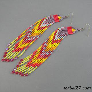 индейские серьги из бисера купить