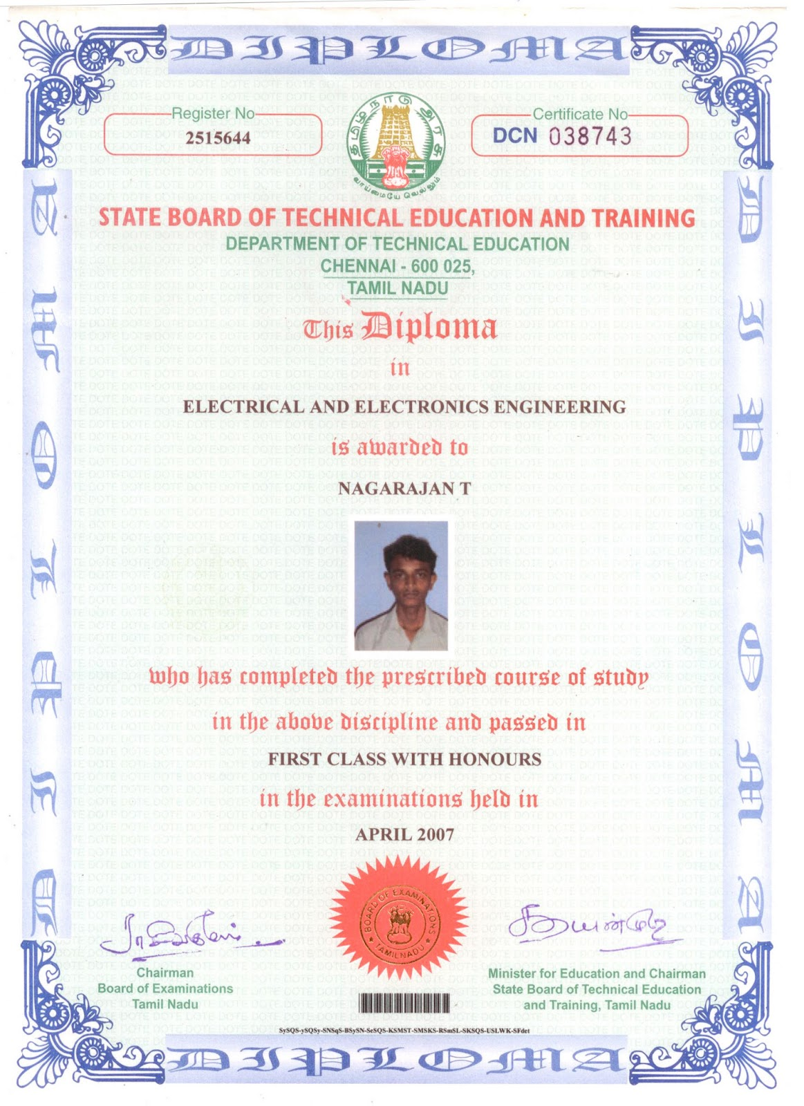 Diploma in electrical and electronics engineering nagarajans blog higher secondary certificate along with mark sheet xflitez Gallery