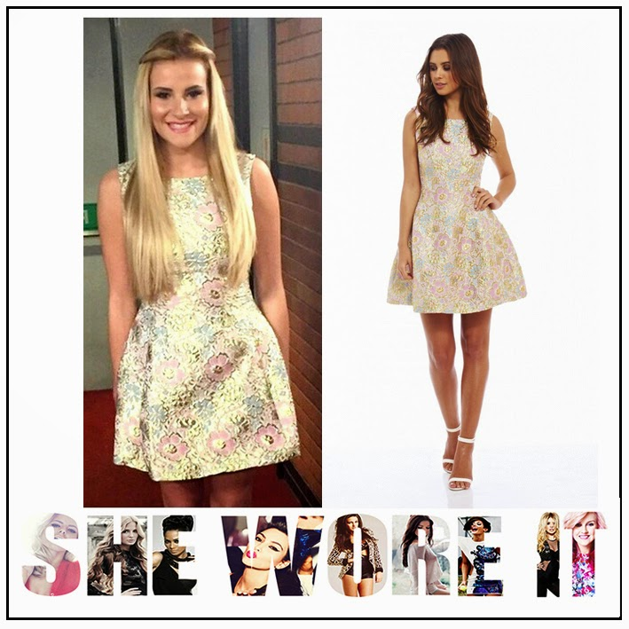 AX Paris, Celebrity Fashion, Dress, Floral Print, Georgia Kousoulou, Gold, High Neck, Light Blue, Light Pink, Metallic, Mini Dress, Skater Dress, Sleeveless, Structured, The Only Way Is Essex, TOWIE,
