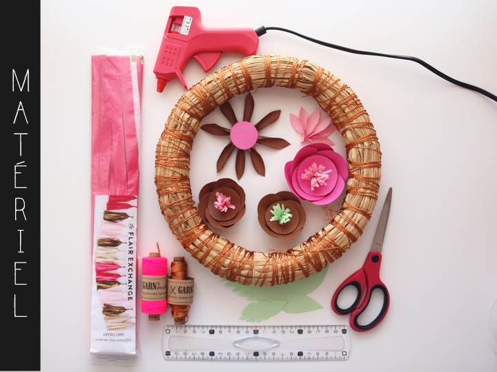 matériel pour diy mobile fleuri et coloré