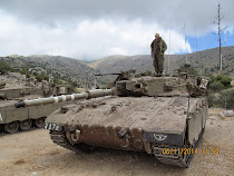 Israeli Defense Force tank parked near Mt. Hermon Ski Resort, Golan Heights, Israel