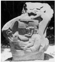 Olmec civilization, Priest Relief, De Agostini Picture Library, G. Dagli Orti, The Bridgeman Art Library. Operator controls machine fire-breathing dragon
