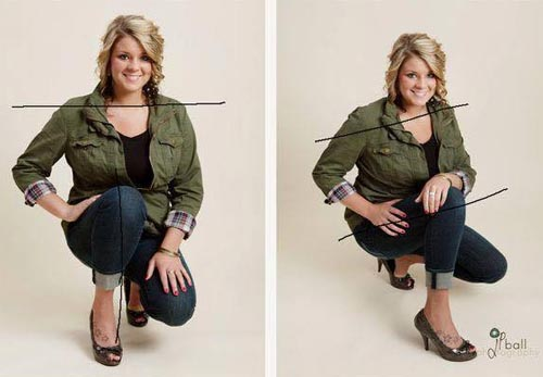 how to look thinner in photos squatting position
