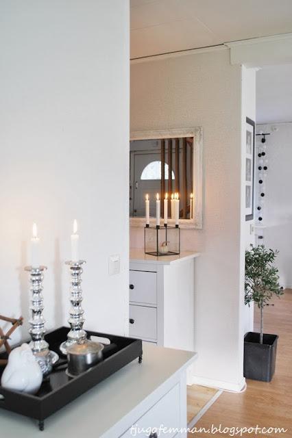inredning, interiör, happy lights, olivträd, day home, diy, uggla, owl, ljusstakar, ib laursen, vitt, svart, silver, vardagsrum, livingroom