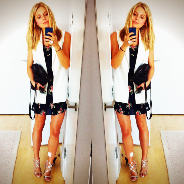 OOTD Zara Sleeveless Vest Jimmy Choo Lance Metallic Sandals