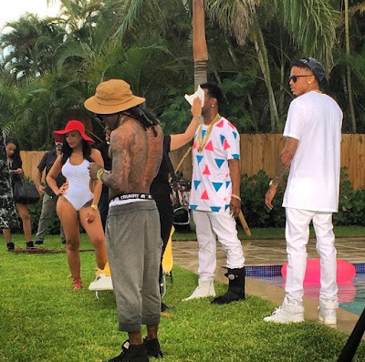 fotos de lil wayne juicy j august alsina grabando el video de miss mary mack cancion single