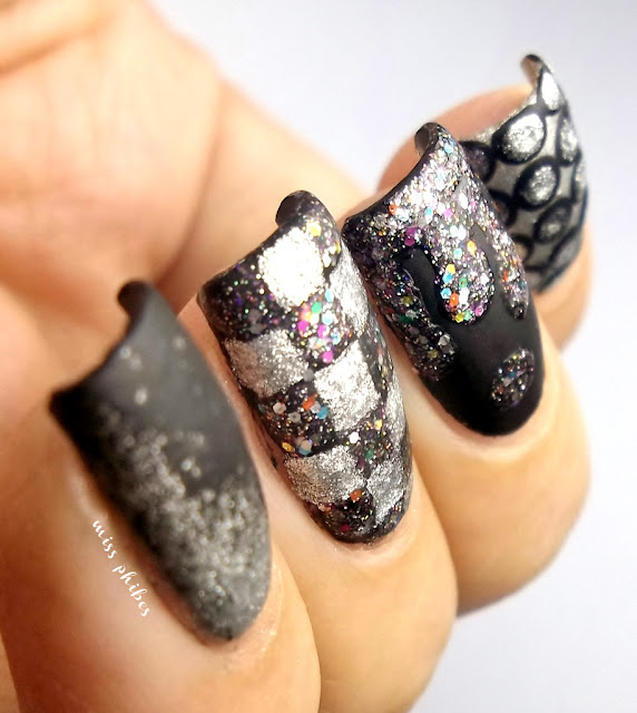 Matte glitters black and silver nail art