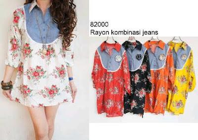 blouse rayon kombinasi jeans kode 82000