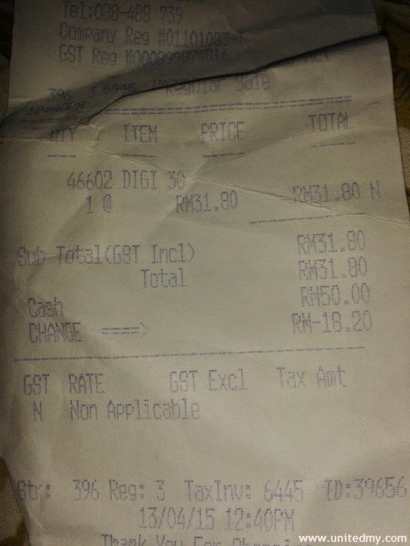 RM30 + 6% GST = RM31.80