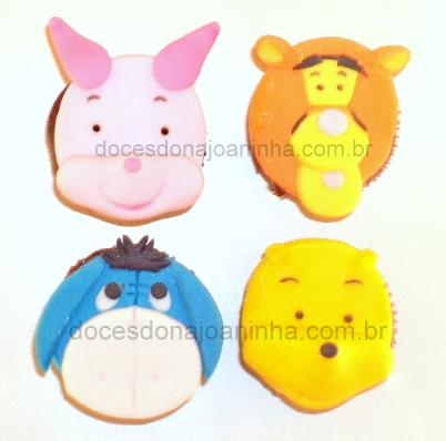 Mini Cupcakes do Ursinho Pooh, Tigrão, burrinho Ió e Leitãozinho