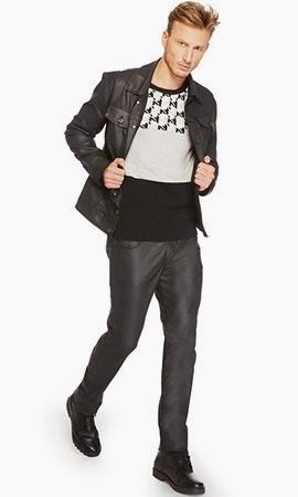 Riachuelo coleção inverno masculina look jaqueta de couro blusa tricô