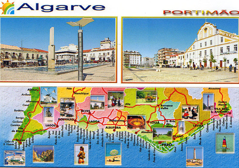 My POSTCROSSING collection ALGARVE Map PORTUGAL – Portugal Tourist Map