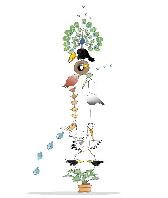 Disegno di cicogne, pellicani, aironi, passerotti, cince, pavoni e cornacchie in equilibrio sopra un bonsai.