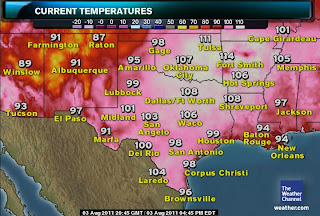 >Large Area of Southern Plains & Mid-South Broils in 110°+ Temps, Little Rock, AR tops 114° While Fort Smith, AR breaks All-Time Record 3 Days in a Row