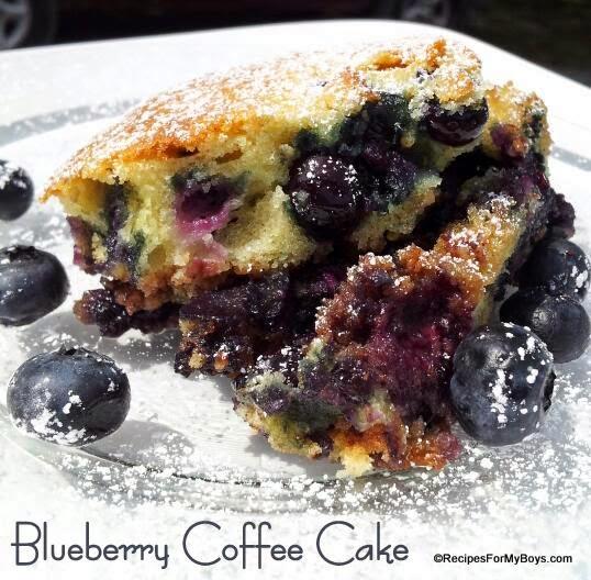 blueberry coffee cake with cinnamon pecan