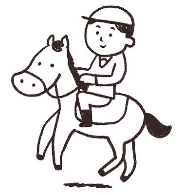 乗馬をしている選手のイラスト(スポーツ) モノクロ線画