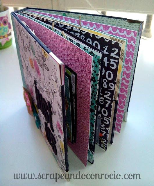 Mini album encuadernación en espina scrapbooking