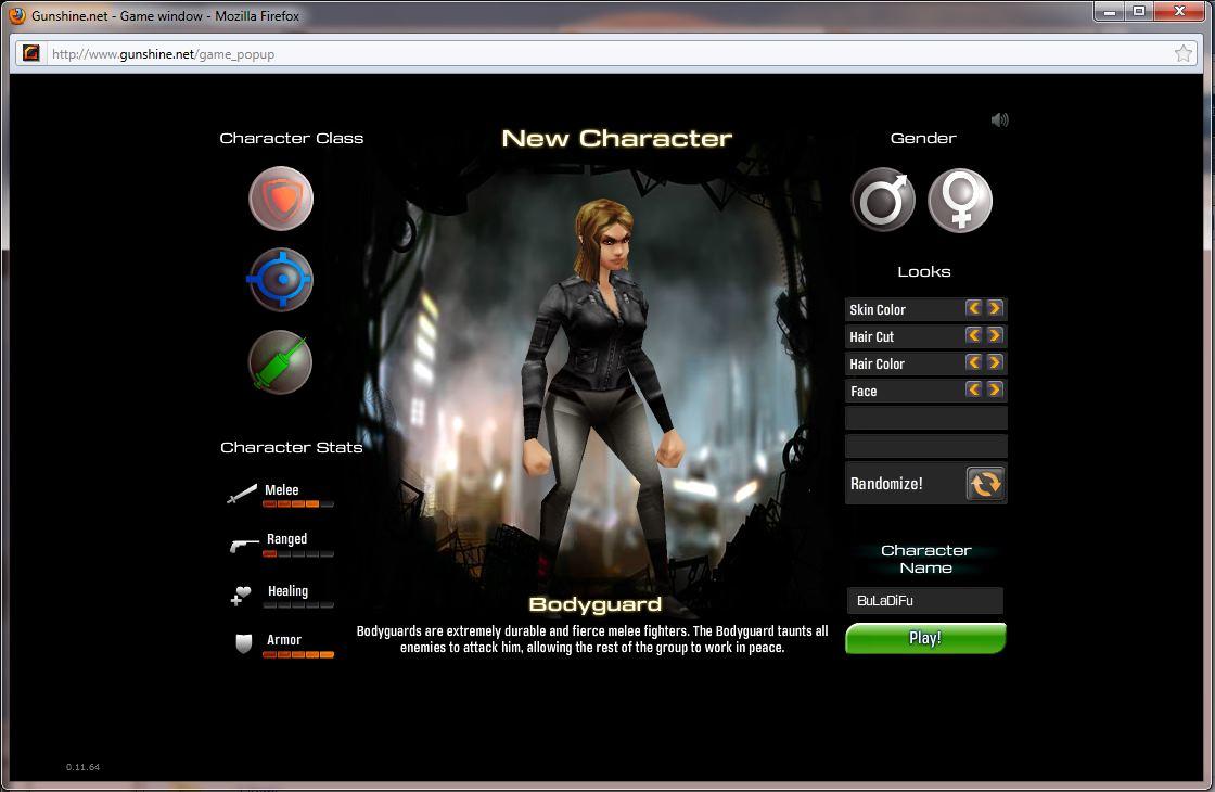 Gunshine.net - Character Creation