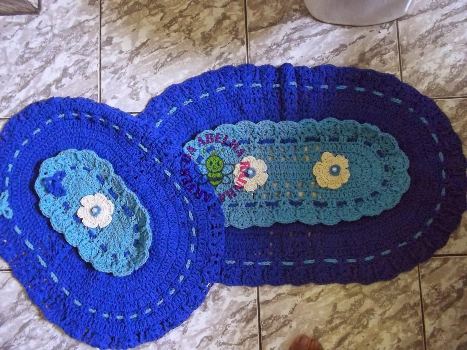 Artes da Abelha Rainha: Jogo de banheiro de crochê em barbante azul #1F33AC 1600x1200 Banheiro Com Luz Azul