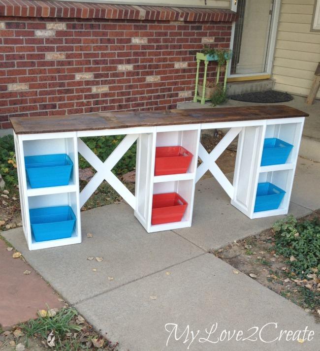 dollar store bins for desk shelves