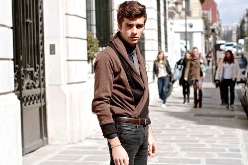Speckled tie brown cardigan BLOG MODE HOMME MENSFASHION