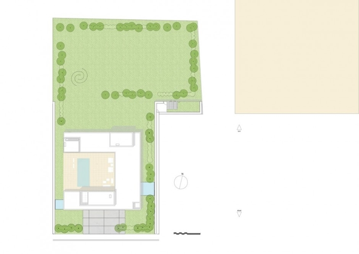 Site plan of Minimalist Home by Beel & Achtergael Architects