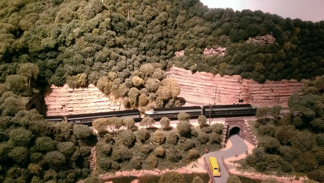 model train passing over a tunnel in a hill