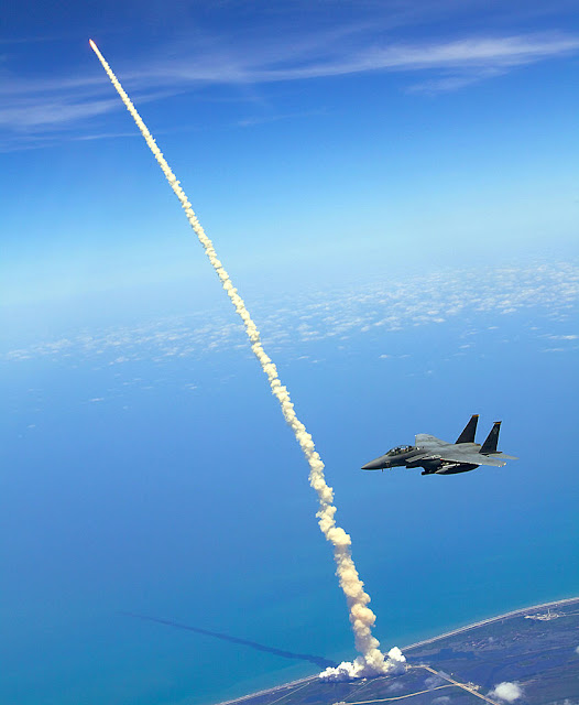 F-15 assists space shuttle