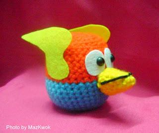 crochet blue angry bird
