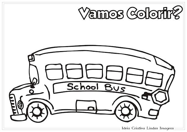Ônibus escolar desenho para colorir