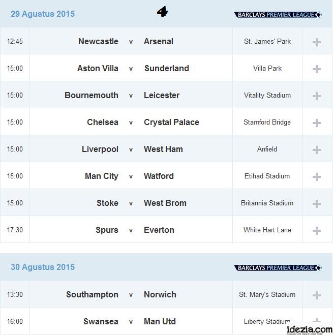 Jadwal Liga Inggris Pekan ke-4 29 30 Agustus 2015