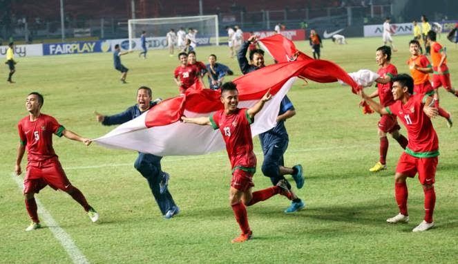 Timnas U-19 rayakan kemenangan atas Korea Selatan