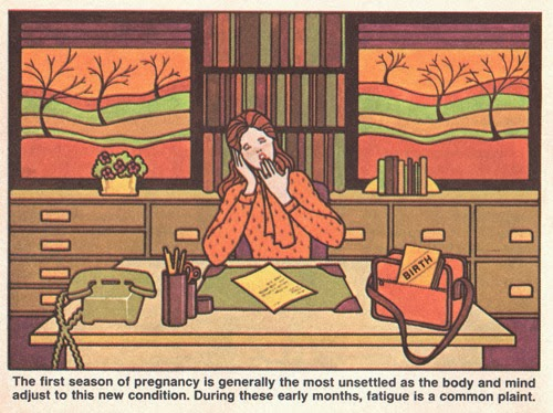 ismoyo's vintage playground: Planned Pregnancy Activities and the Reality. First trimester pregnancy illustration from 1980 Parents Expecting magazine